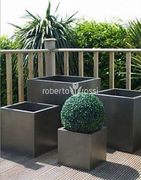 Buxus natural in ghiveci metalic patrat Zinc Metal Colour 50x50x50 cm