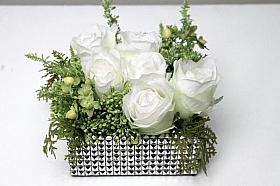 Aranjament cu flori de Trandafir in ghiveci 15x15 cm HO alb
