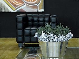 Aranjament cu plante artificiale in ghiveci Polished Aluminium Tub