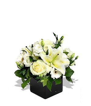Buchet alb Pearly White Roses Mediu