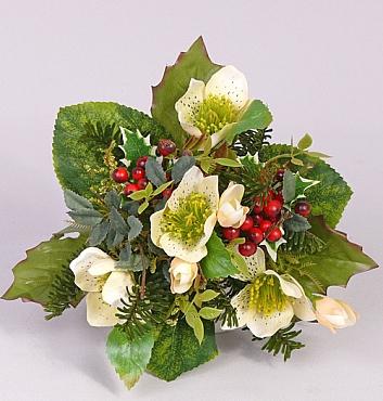 Buchet cu trandafiri si fructe de padure 17 cm alb