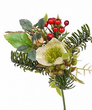 Buchet Rose - berry D12xH17 cm alb