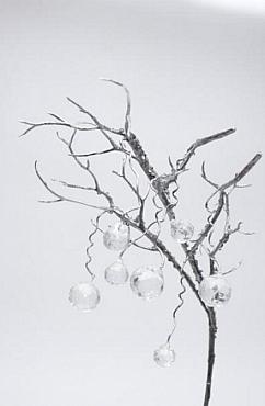 Crenguta decorativa Sequin 60 cm HO argintiu