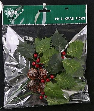 Frunze Ilex cu fructe de padure si conuri de brad 17 cm