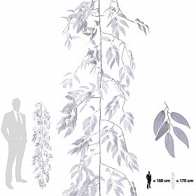 Ghirlanda artificiala salcie 170cm, 425 frunze, alb