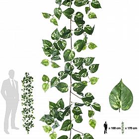 Ghirlanda artificiala scindapsus 170cm, 138 frunze, verde/alb
