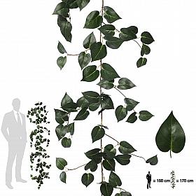 Ghirlanda artificiala scindapsus 170cm, 138 frunze, verde inchis