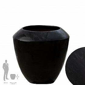 Ghiveci ceramic Coppa 50x50 cm negru lucios