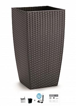Ghiveci columnar cubic ratan 31x31x56,5 cm cu sistem irigare antracit