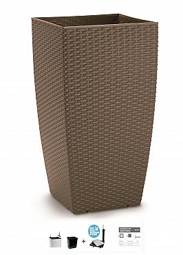 Ghiveci columnar cubic ratan 31x31x56,5 cm cu sistem irigare maro espresso