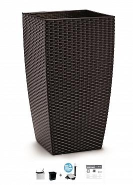 Ghiveci columnar cubic ratan 31x31x56,5 cm cu sistem irigare maro inchis