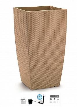 Ghiveci columnar cubic ratan 31x31x56,5 cm cu sistem irigare taupe