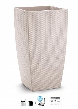 Ghiveci columnar cubic ratan 36x36x66 cm cu sistem irigare alb