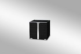 Ghiveci Ratan cu banda si rama de aluminium 46x46x46 negru negru