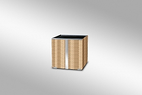 Ghiveci Ratan cu banda si rama de aluminium 52x52x52 crem crem