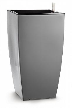 Ghiveci tip Lechuza Cubico 36x36x66,cm, cu set complet udare, gri urban lucios