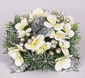 Inel cu flori, perle si brad pentru lumanare D7X15 cm