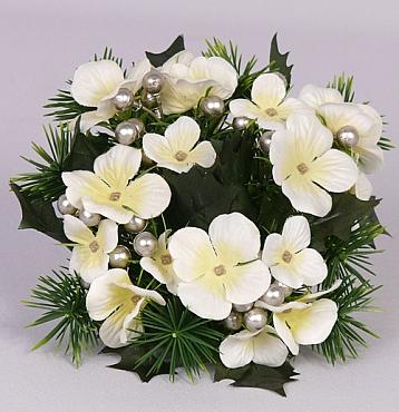 Inel cu flori si perle pentru lumanare D7x17 cm 30043