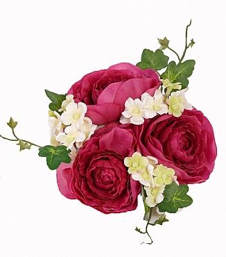 Inel cu Ranunculus si Iedera pentru lumanare D2.7X13 cm