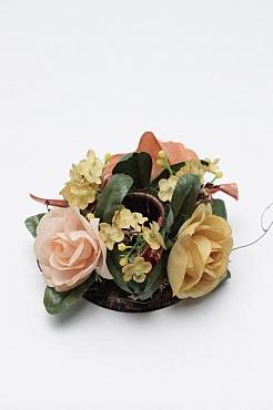 Inel pentru lumanare cu flori de trandafir D12 cm HO galben