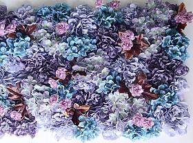 Perete Design din trandafiri, bujori si hortensii artificiale 40x60cm, albastru-mov-roz VF17
