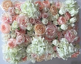 Perete Design din trandafiri, bujori si hortensii artificiale 40x60cm, roz-alb VF18