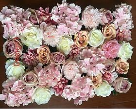 Perete Design din trandafiri, bujori si hortensii artificiale 40x60cm, roz-crem-alb VF16