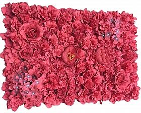 Perete din bujori, trandafiri si hortensii artificiale 40x60cm, rosu VF4
