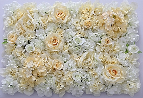 Perete din trandafiri, bujori si hortensii artificiale 40x60cm, alb-crem VF11