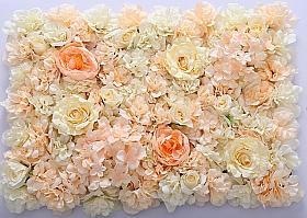 Perete din trandafiri, bujori si hortensii artificiale 40x60cm, crem-piersica VF12