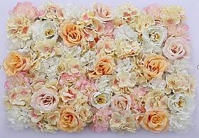 Perete din trandafiri, bujori si hortensii artificiale 40x60cm, crem-roz-piersica VF13