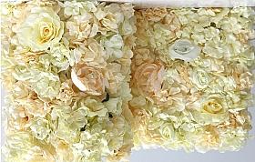 Perete din trandafiri, bujori si hortensii artificiale 40x60cm, ivory VF7