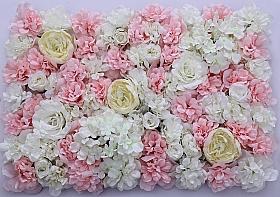 Perete din trandafiri, bujori si hortensii artificiale 40x60cm, roz-alb-crem VF14