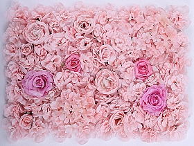 Perete din trandafiri, bujori si hortensii artificiale 40x60cm, roz VF15