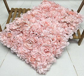 Perete din trandafiri, bujori si hortensii artificiale 40x60cm, roz VF8