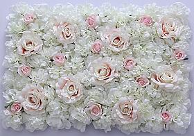 Perete din trandafiri si bujori artificiali 40x60cm, alb-roz VF10