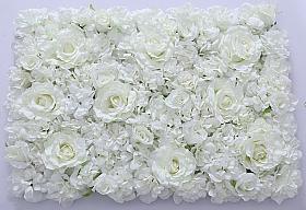 Perete din trandafiri si bujori artificiali 40x60cm, alb VF9