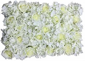 Perete din trandafiri si hortensii artificiale 40x60cm, alb VF1