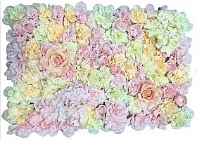 Perete din trandafiri si hortensii artificiale 40x60cm, roz-piersica-ivory VF3