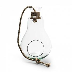 Terariu din sticla suspendat in forma de para D15cm X H25cm cu funie